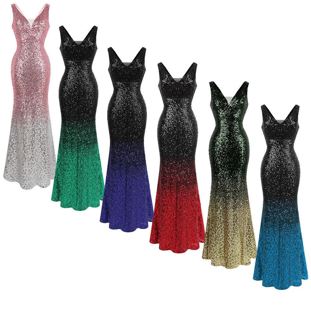 Angel-fashions V-Ausschnitt Funkeln Paillette Gatsby 20s Flapper Party kleid 382