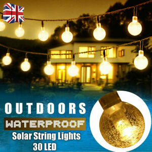 Solar Powered Retro Bulb String Lights For Garden Outdoor Fairy Summer Lamp