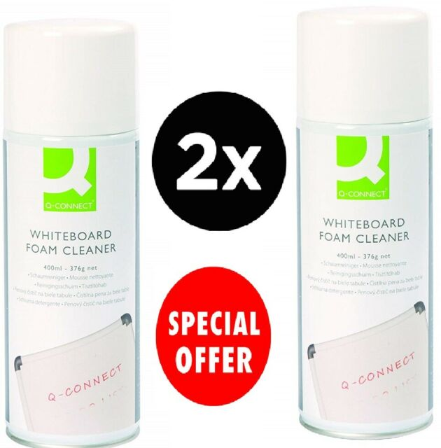 2 X Q-Connect Whiteboard Surface Foam Cleaner 400ML KF04504.JOBLOT OF 2.