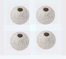 50pcs 4mm stardust bead Round solid 925 Sterling Silver Spacers seamless S94