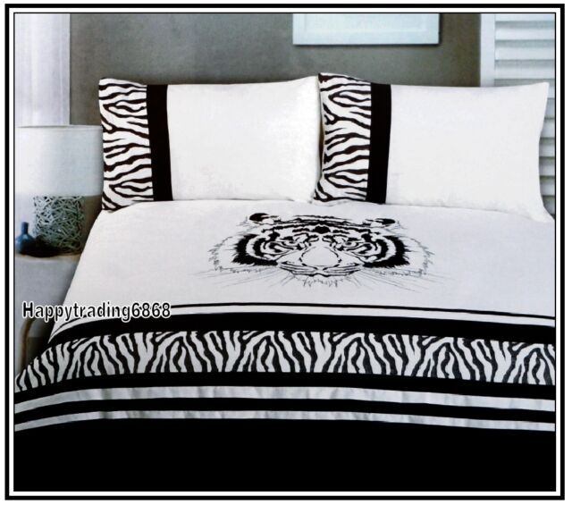 280TC Black White Angry Tiger Embroidery Pintuck 3pc QUEEN QUILT DOONA COVER SET