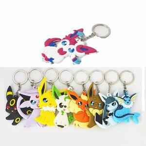 9pcs Pokemon Eevee Eeveelution Vaporeon Pvc Keychain Keyring Pendant