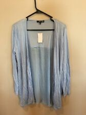 MACY'S All At Once Long Sleeve Large rayon Chiffon Blue Cardigan
