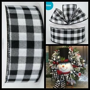 Black-amp-White-Gingham-Check-Holiday-Christmas-Wired-Ribbon-2-5-034-W-X-5-Yards
