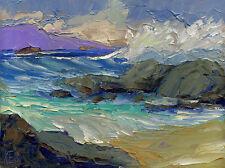 PACIFIC CHARM TWO Original Seascape Oil Painting Palette Knives 12x16 050916 KEN
