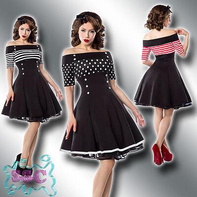 Rockabilly Kleid Xs-3xl 50er Jahre Marine Carmen Vintage Retro Stripes Dots 41 QualitäT Zuerst