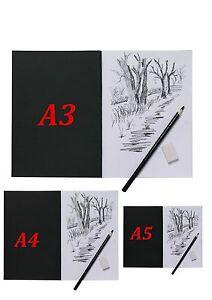 A3-A4-A5-Artist-Sketch-Book-White-Cartridge-Paper-Black-Card-Cover-Art-Pad-Tiger
