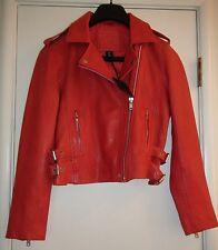 Belle Vere Women's Moto Motorcycle Biker Red Leather Jacket Zipper Cuffs NWT XS