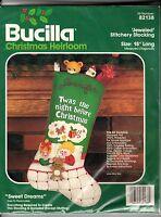 Vintage Bucilla Felt Applique Kit Sweet Dreams Christmas Stocking 82138