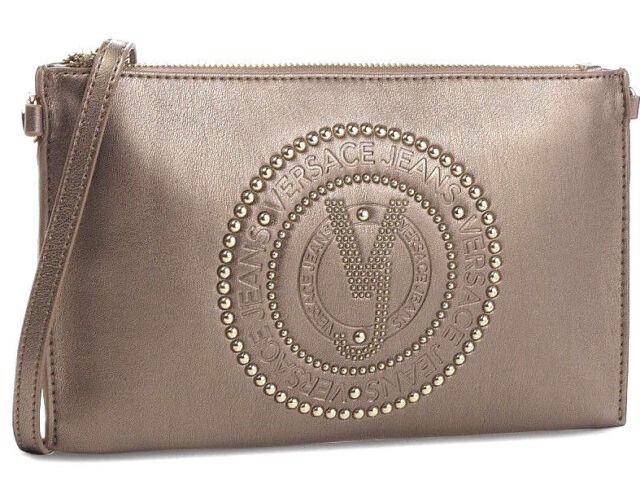 19405571b37 VERSACE 2019 Gold Tone Crossbody Bag Charm Pearl Embellished Clutch Handbag  SALE