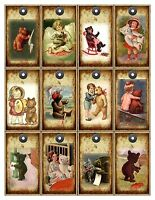 Vintage Inspired 12 Teddy Bear Tags Scrap Booking With Satin Ribbon