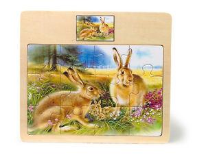Puzzle-per-bambini-034-Famiglia-di-lepri-e-leprotti-034-12-pezzi-cornice-in-legno