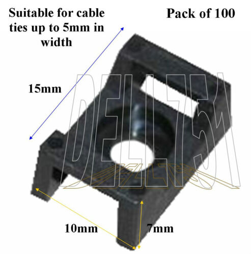 A//CA3 Pck//100 5mm tie Screw down cable tie base