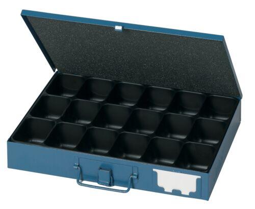 Dinzl Sortimentskoffer S50 Bügelspannverschluss 18fach Kleinteileeinsatz