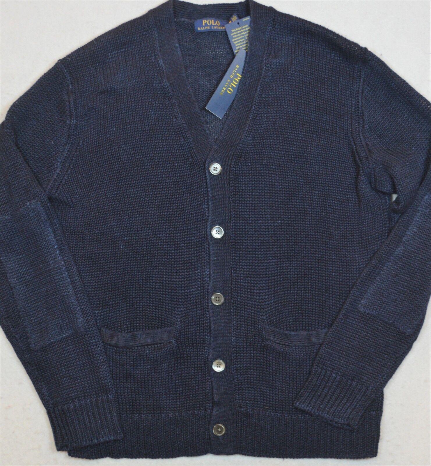 Polo Ralph Lauren Cardigan Sweater Indigo Dyed Linen Größe XL NWT  265