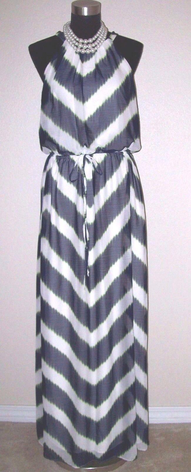 Vince Camuto Dress Sz 10 schwarz Grün & Off Weiß Maxi Drawstring M  NEW