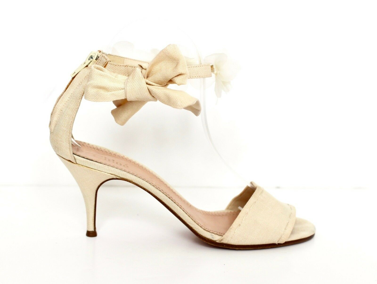 CHLOE ivory open toe sandal heels cherry blossom ankle strap IT38.5 UK5.5 US8.5