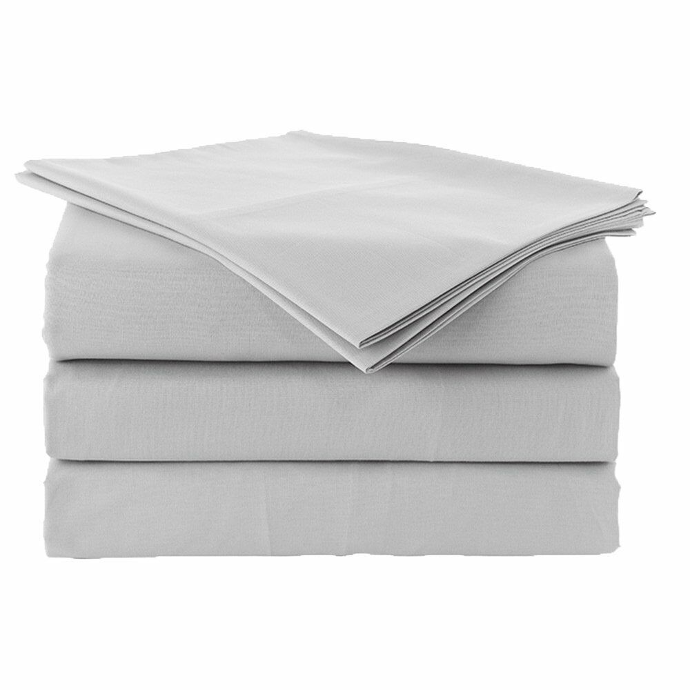 1 Fitted sheet & 2 Pillowcase Light Grey Solid 1000 Thread Count 100% Cotton USA