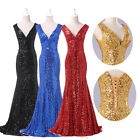 FASHION Sequins long prom dresses Bridesmaid Formal Evening Mermaid Party Gowns