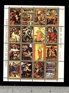 Umm-al-Qiwain-Religious-Paintings-mini-sheet-of-16-stamps-CTO-Life-of-Christ-I
