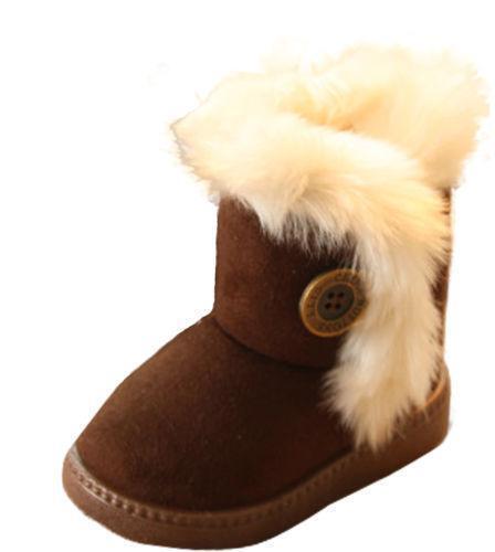 Child Kid Boy Girl Plus Size Winter Snow Boots Fleece Fur Thick Buckle Warm Shoe