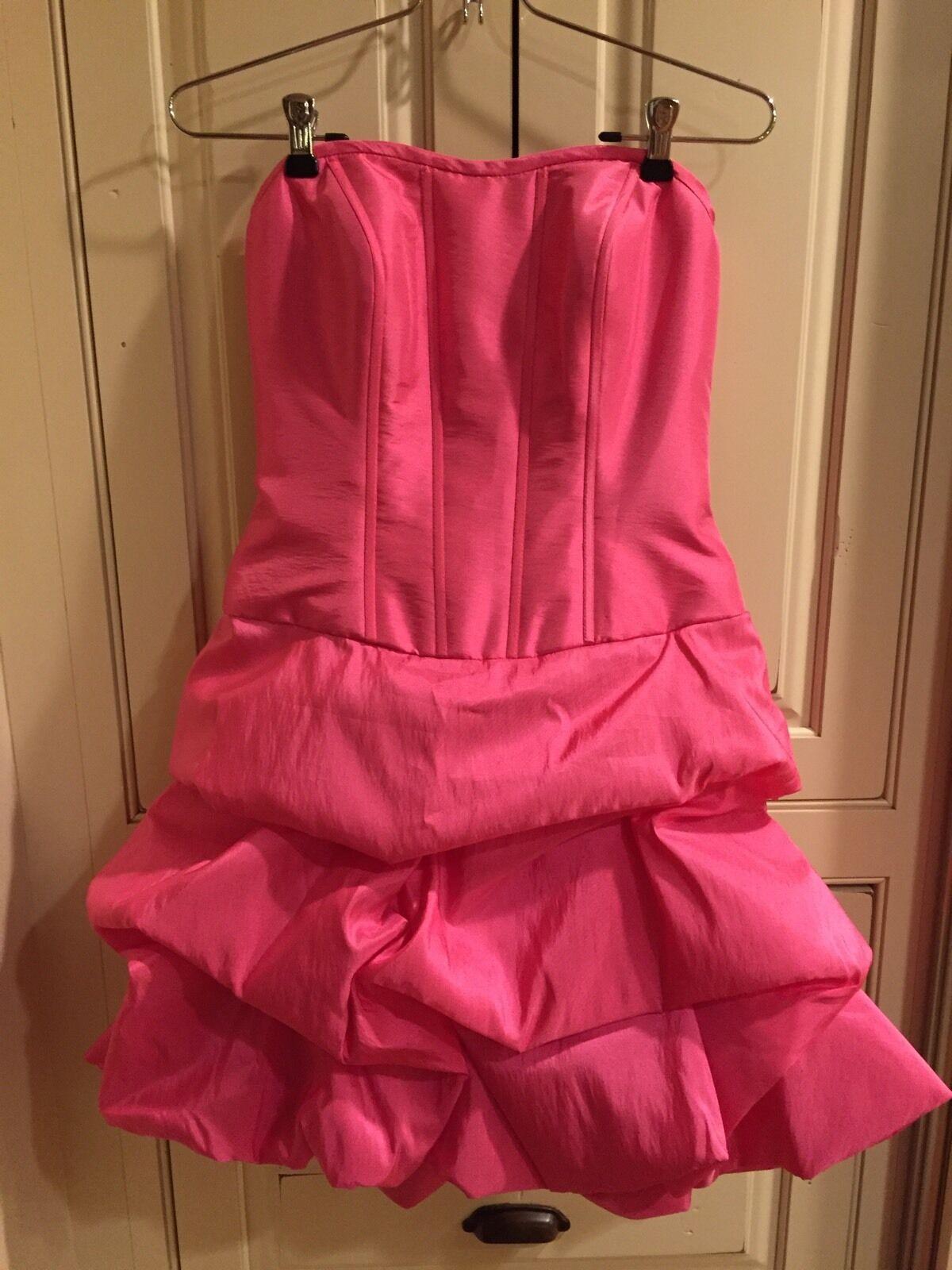 NWT Mori Lee Sticks & Stones Dress 9029 Homecoming Mini Neon Pink Size 5/6