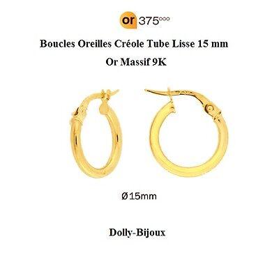 1.2 mm Or Massif 18K Dolly-Bijoux Boucles d/'oreilles Créole Tube Lisse 12 mm