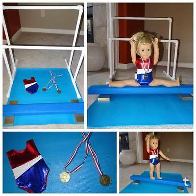 "OLYMPIC FOR 18/"" AMERICAN GIRL DOLL GYMNASTICS BALANCE BEAM LEOTARD MAT MEDAL 6PC"