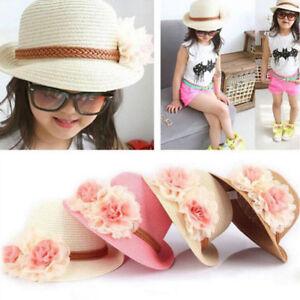 b4bf3a3dde Summer Girls Kids Baby Children Cap Flowers Decor Straw Beach Sun ...