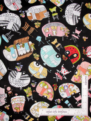 Loralie Vintage Holiday Camper RV Toss Black Cotton Fabric Camp Trailers YARD