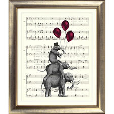 ART PRINT ORIGINAL VINTAGE MUSIC SHEET Page ELEPHANT BALLOONS BOOK Shabby Chic