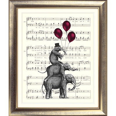 ART PRINT ORIGINAL VINTAGE MUSIC SHEET Page ELEPHANT BALLOONS BOOK Shabby Chic