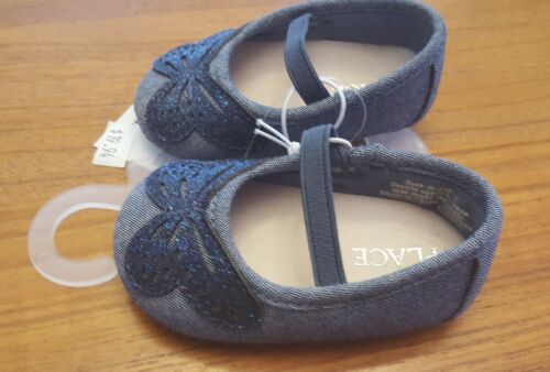 NEW Children/'s Place Infant Baby 0-3 3-6 MONTHS Denim Butterfly Crib Shoes Flats