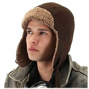 Image is loading Steampunk-Lined-Aviator-Hat -Costume-Accessory-Halloween-Unisex- f7c306469f5