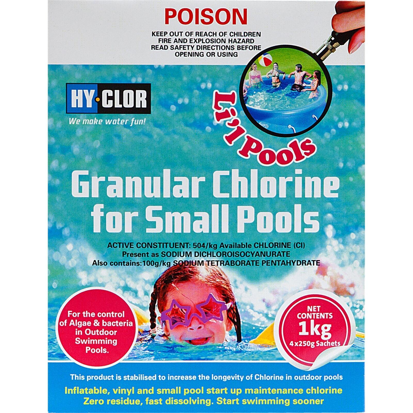 Hy-Clor 1kg GRANULAR CHLORINE Ideal for Small Pools Control of Algae & Bacteria