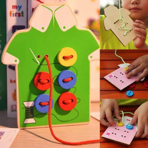 Lernspielzeug Kinder Perlen Schnürung Bord Holzspielzeug Aufnähen Knöpfe