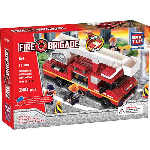 Fire Engine BricTek Building Block Construction Toy Brick FIre Brigade Truck