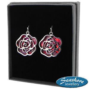 Red-Rose-Earrings-Paua-Abalone-Shell-Womens-Silver-Fashion-Jewellery-Gift-Boxed