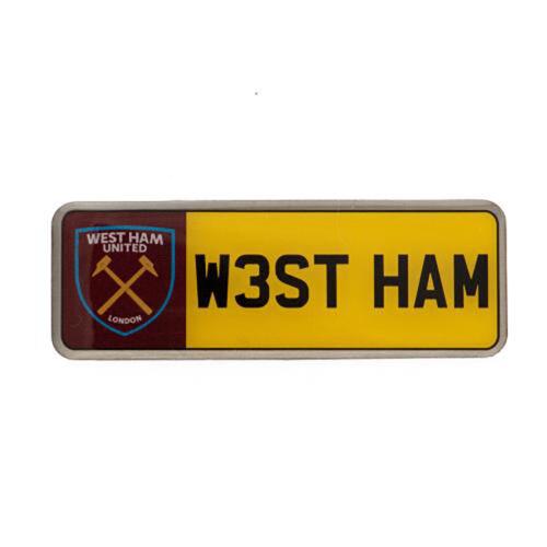 West Ham United F.C - Metal Number Plate Badge - GIFT