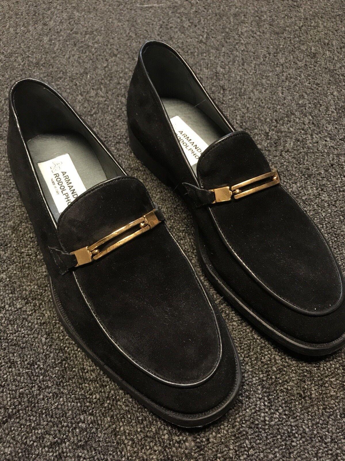 Arhommedo roldolpho Homme en daim noir Mors de Cheval Mocassins taille US 9 EU 42 Chaussures