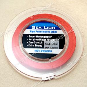 NEW-Sea-Lion-100-Dyneema-Spectra-Braid-Fishing-Line-300M-30lb-Red