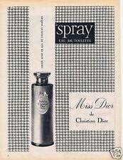 Publicité Advertising 056 1961 Christian Dior Miss Dior  Spray eau de toilette