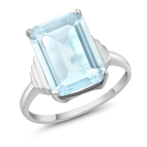 8.70 Ct Octagon Sky Blue Topaz 925 Sterling Silver Ring