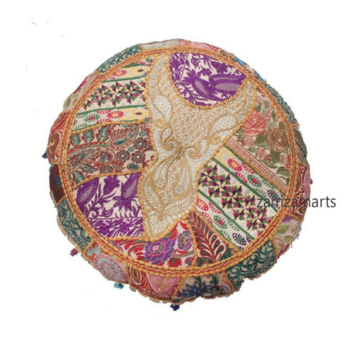 """Indian 16/"""" Handmade Round Beige Patchwork Cushion Cover Decorative Pillow Case"""
