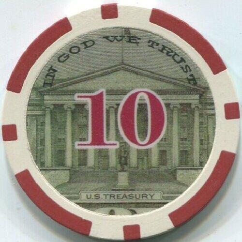 11.5 gm $10 President Hamilton Money poker chip sample Great for Bounty