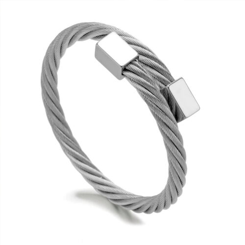 Details about  /Luxury Roman Number Wristband Bangle Twist Cable Wire Stainless Steel Bracelets