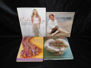 Lot-4-Knitting-Pattern-Books-Scarves-Shawls-Scarf-Socks-Mittens-Lace-Wraps-HC