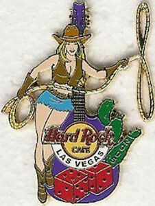 Hard-Rock-Cafe-LAS-VEGAS-2005-Sexy-RODEO-GIRL-PIN-Hot-Blond-Cowgirl-Lasso-Guitar