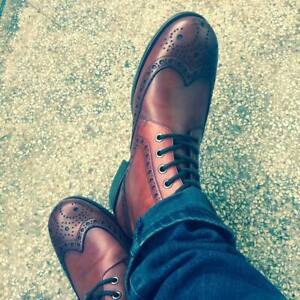 Men-039-s-Handmade-Vintage-Boots-Bespoke-Tan-Formal-Party-Casual-Cow-Leather-Shoes