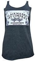 Ouija Board - Women's Charcoal Gray Racer Back Tank Top Black Market Art